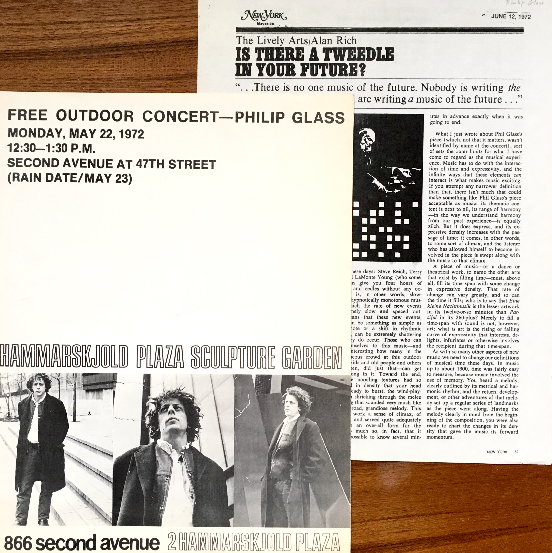Free Outdoor Concert Philip Glass Hammarskjold Plaza Sculpture Garden New York May 22 1972